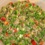 Colorful and delicious asparagus and bulgur
